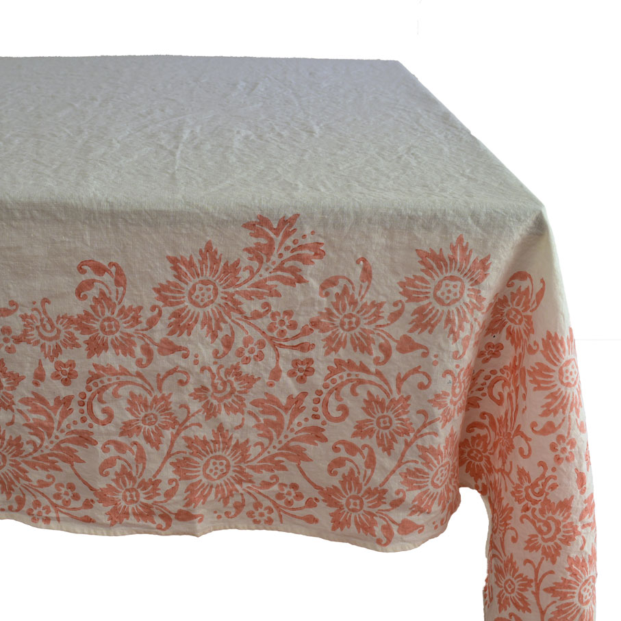 Hand Printed Linen Tablecloth Flora Coral | AllORA