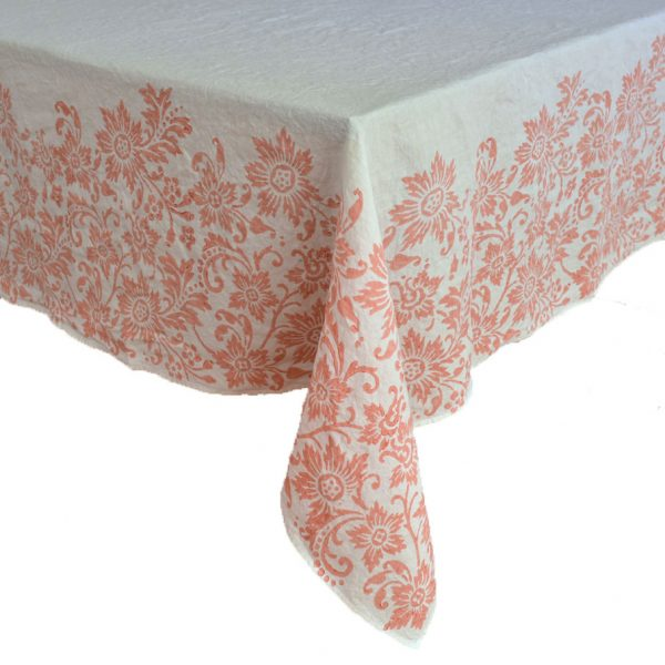 hand printed linen tablecloth coral