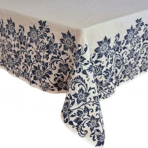 hand printed linen tablecloth blue navy Bertozzi