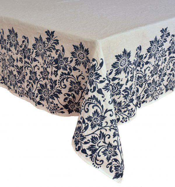 hand printed linen tablecloth blue navy Bertozzi