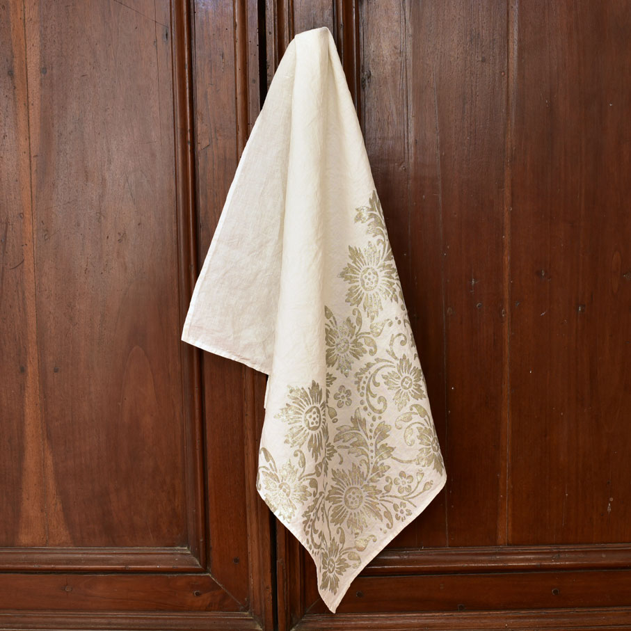 hand crafted linen tea towel silver