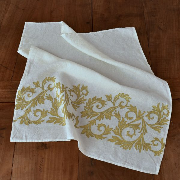 han crafted tea towel gold