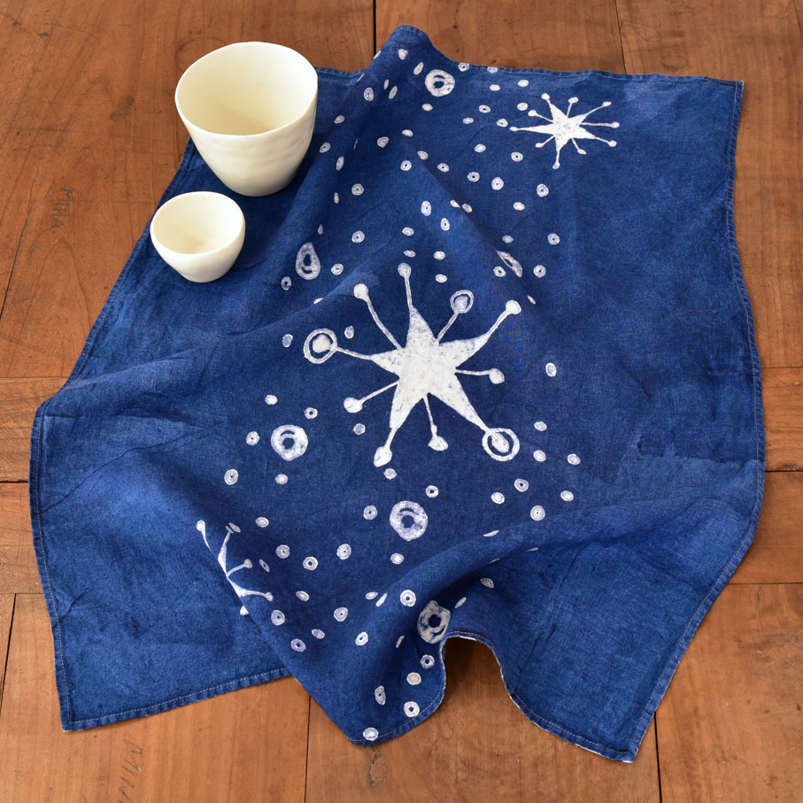 hand crafted tea towel blue