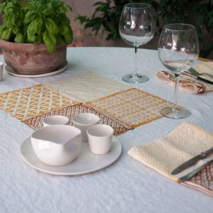 hand printed linen tablecloth Bertozzi