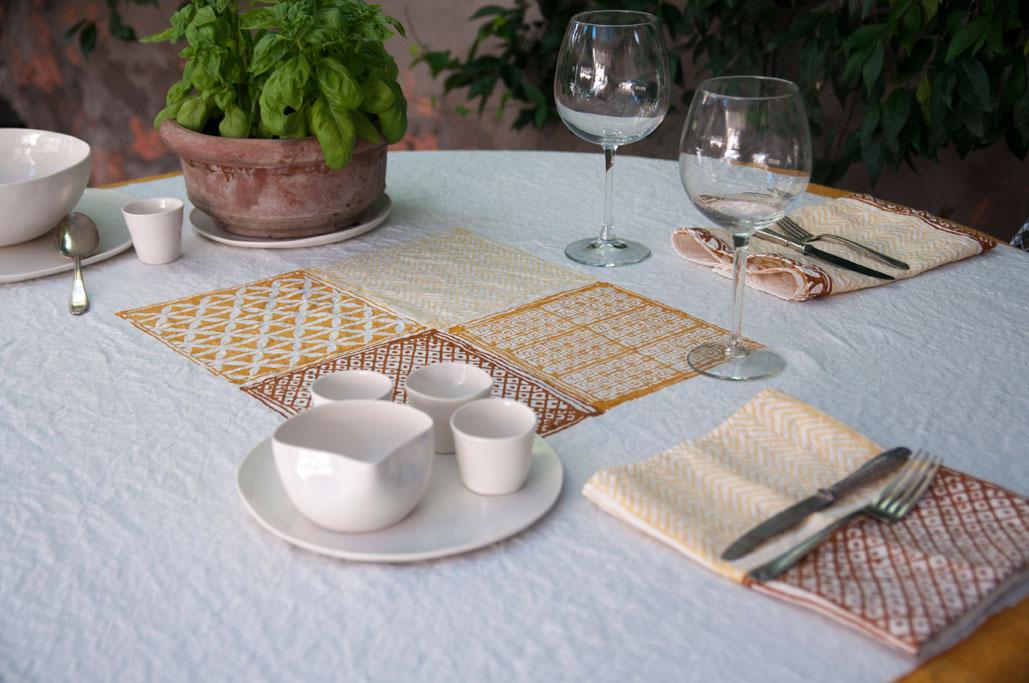 hand printed linen tablecloth Bertozzi