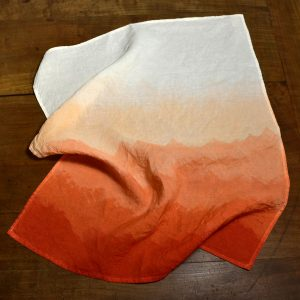 hand painted linen towel coral