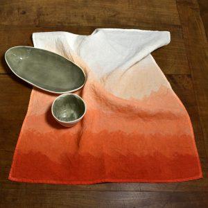 linen tea towel coral Bertozzi