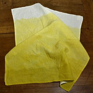 organin linen tea towels lemon yellow