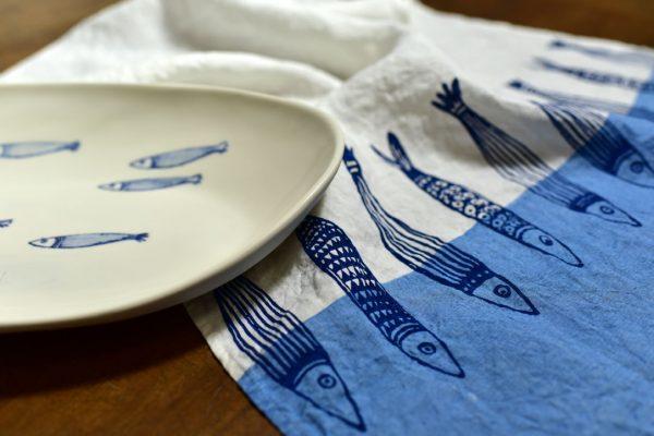 Bertozzi linen tea towels blue fish