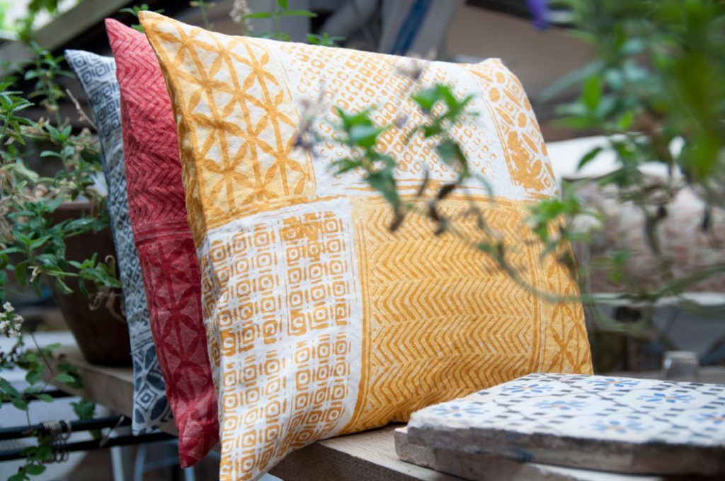 hand printed linen cushions by Bertozzi