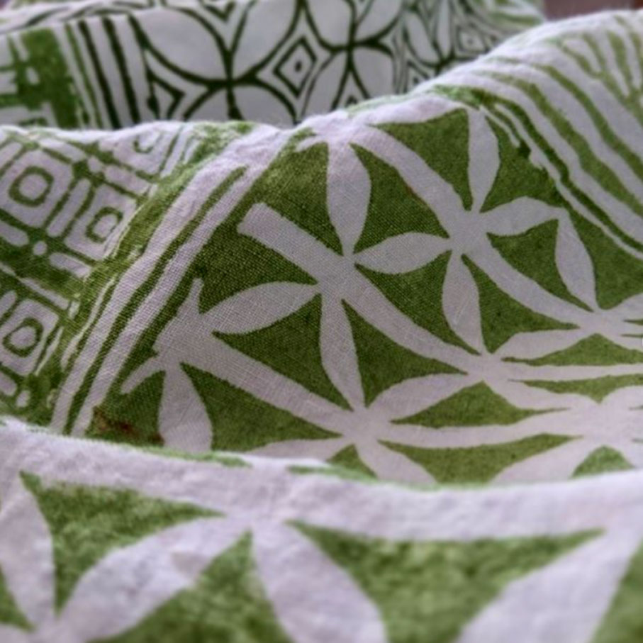 block printed green linen tea towel Bertozzi