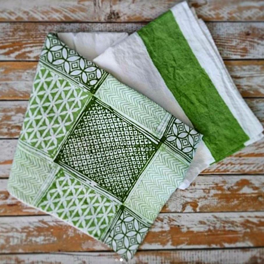Bertozzi linen tea towel Taormina green