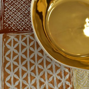 Block printed linen tablecloth Bertozzi