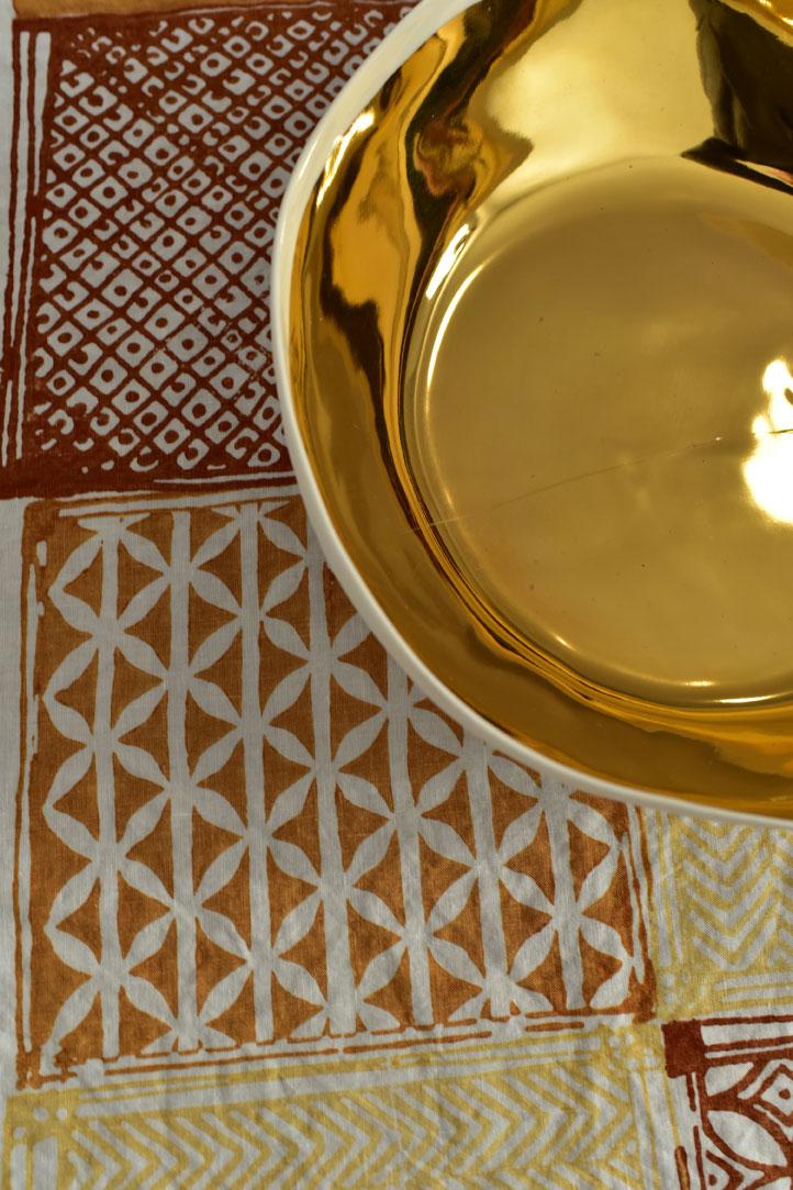 Block printed linen tablecloth Bertozzi