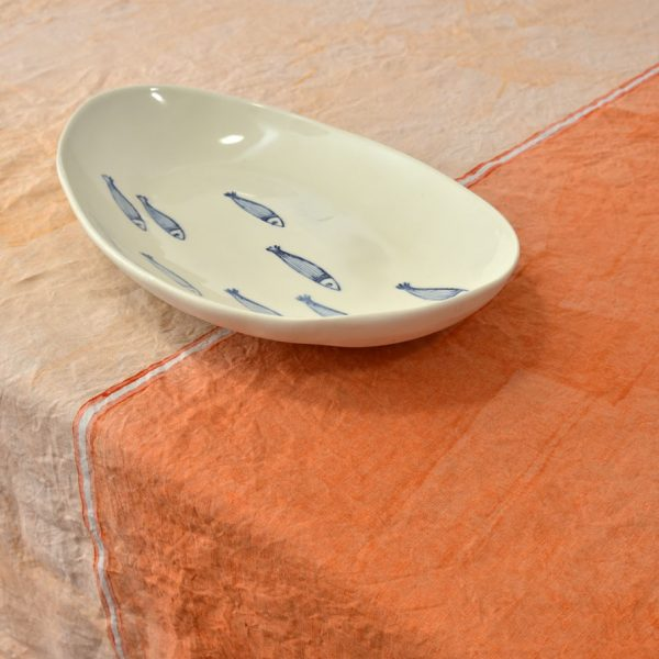 hand painted linen tablecloth orange Bertozzi
