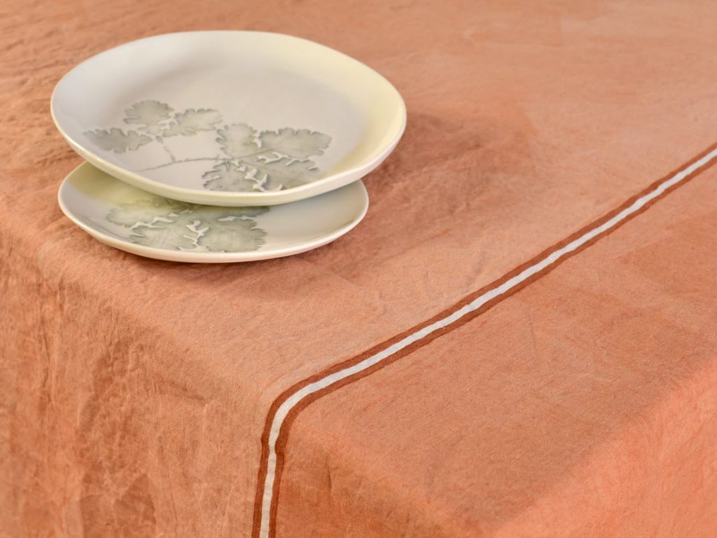 hand painted linen tablecloth clic