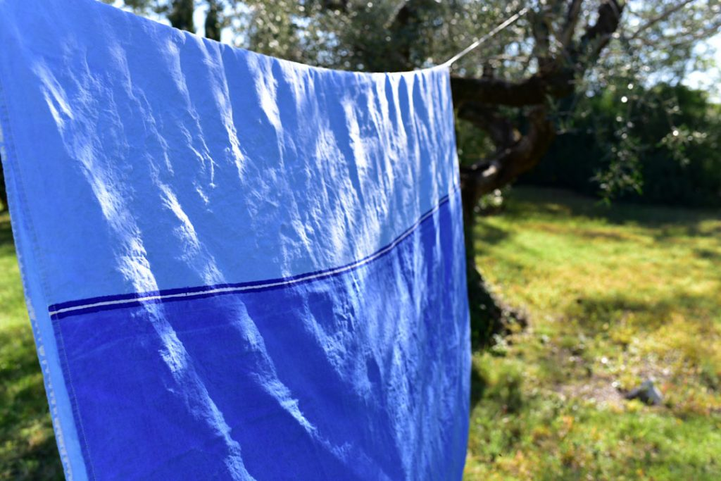 Bertozzi hand painted linen tablecloth blue