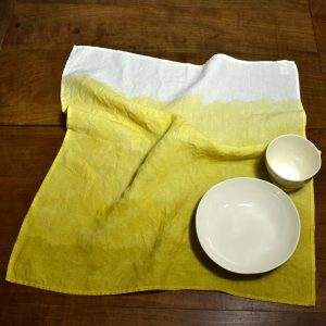 hand painted linen tea towel lemon yellow