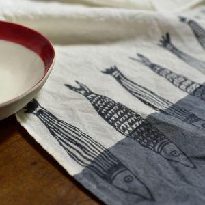 hand painted linen tea towel fish