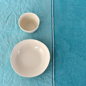 hand painted linen tablecloth aqua