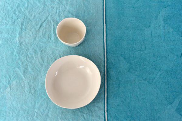 hand painted linen tablecloth aqua