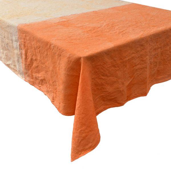 Italian linen tablecloth orange