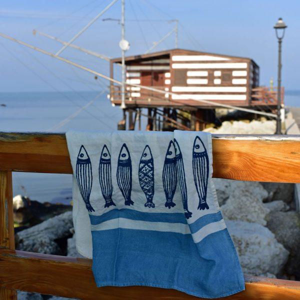 hand painted linen tea towel Bertozzi