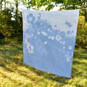 Floral linen tea towel blu Bertozzi