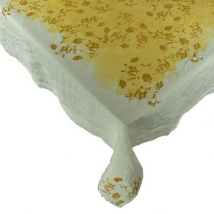 botanical linen tablecloth yellow Bertozzi
