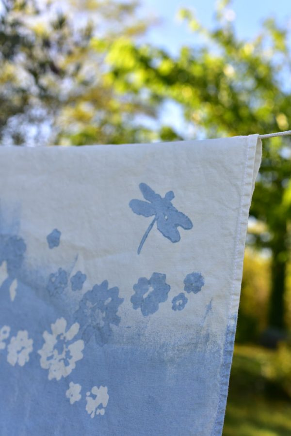 Blue linen tablecloth bertozzi