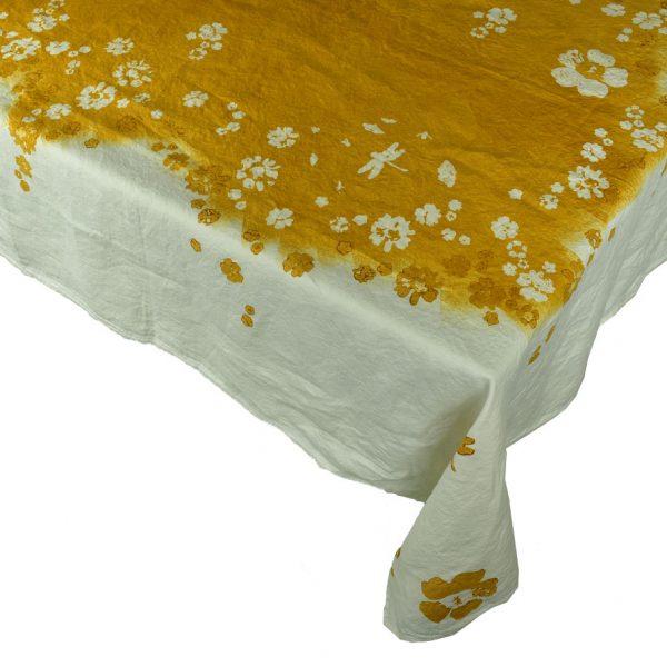 Hand painted ochre linen tablecloth Bertozzi