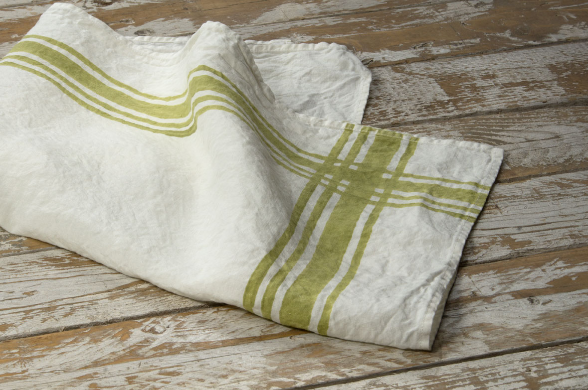 french style linen tea towels gingham lime green allora. Black Bedroom Furniture Sets. Home Design Ideas