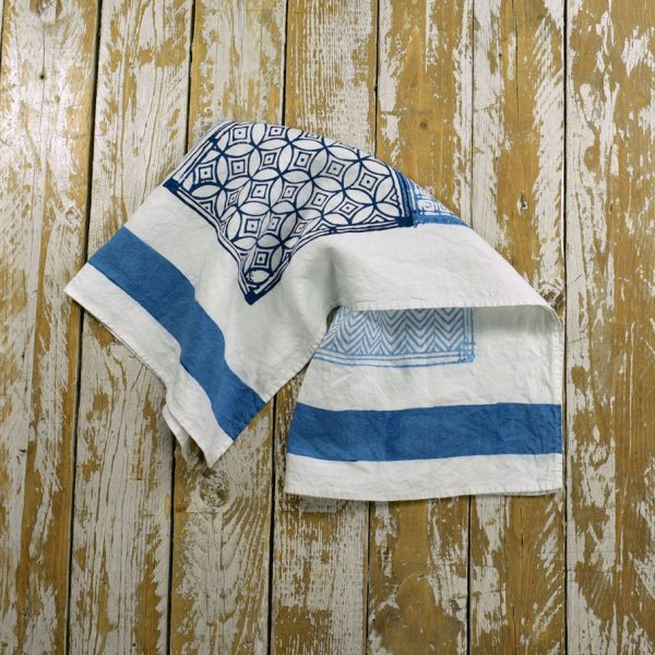 Hand printed blue tea towels Bertozzi