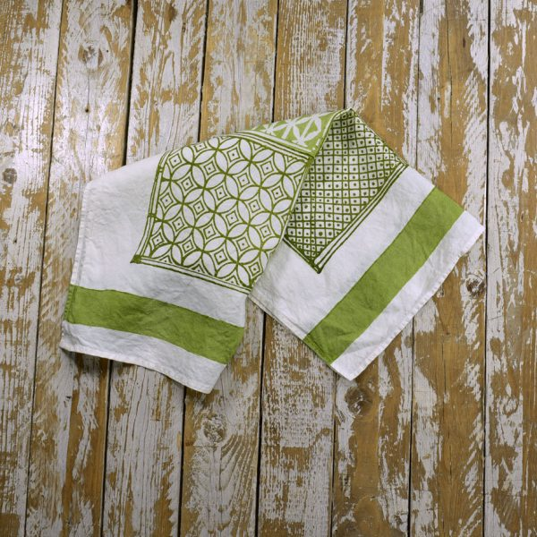 Bertozzi linen tea towels green