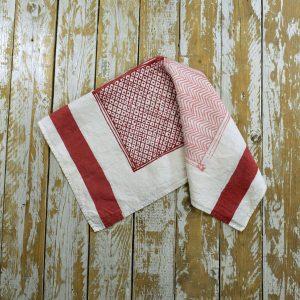 Block printed linen tea towels Bertozzi