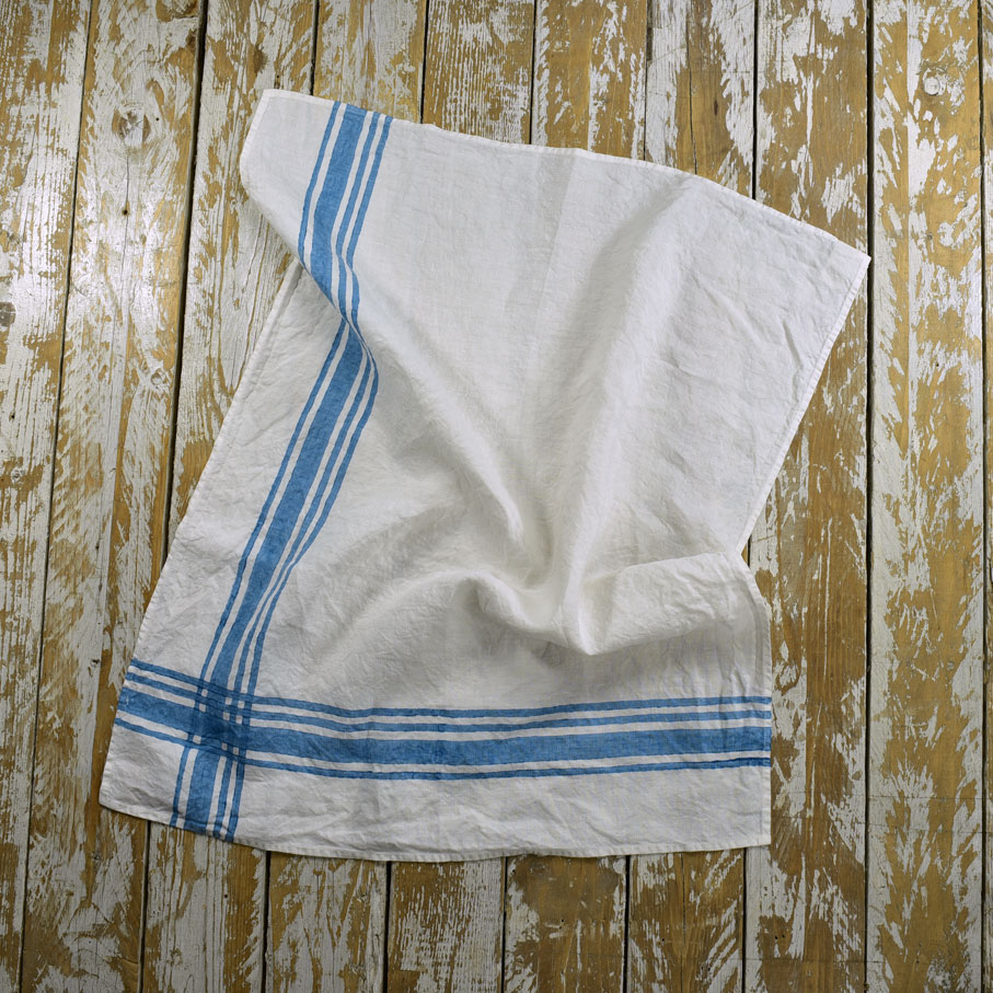 French Style Linen Tea Towels Gingham Blue