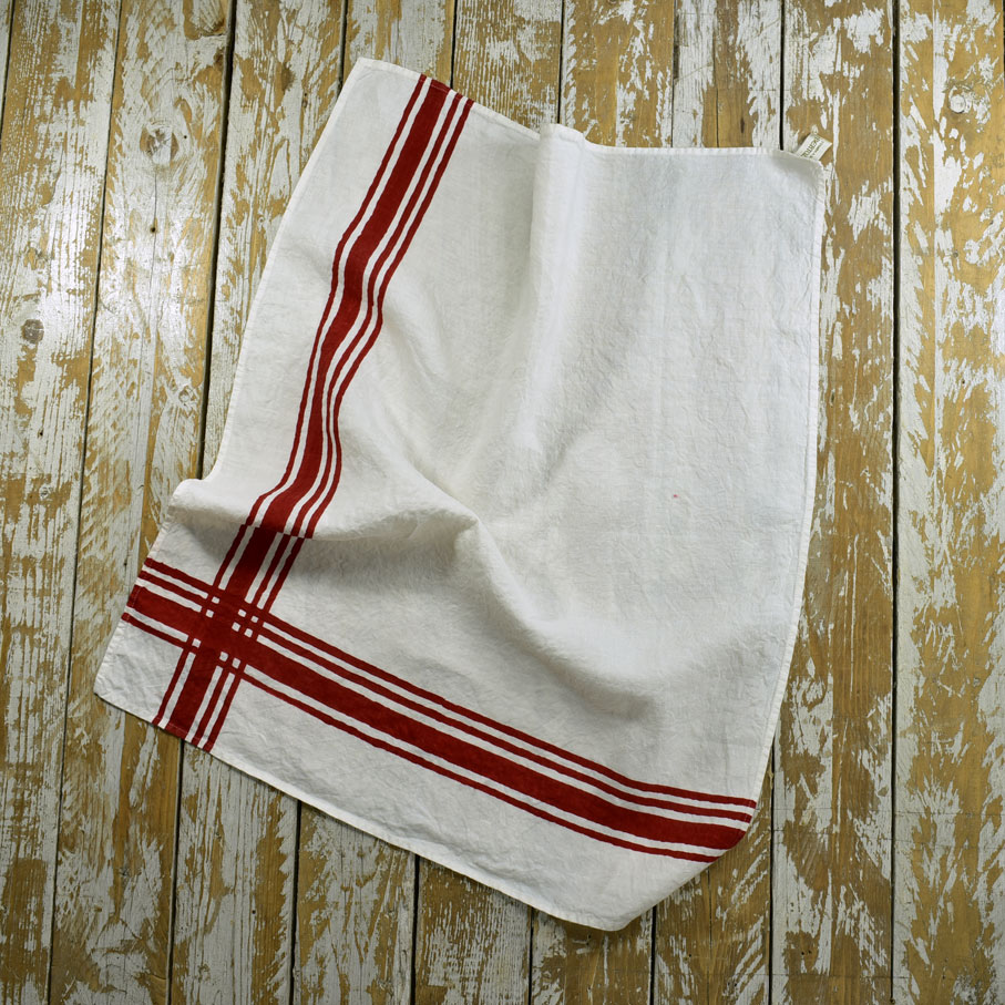 French Style Linen Tea Towels Gingham Red