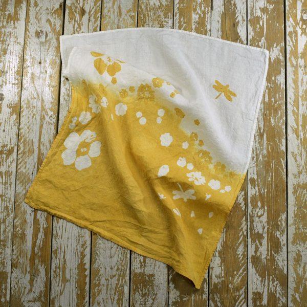 Ochre linen tea towel Bertozzi