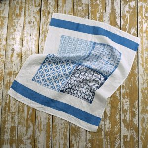Hand printed blue linen tea towel Bertozzi