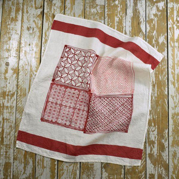 Red linen tea towels Bertozzi