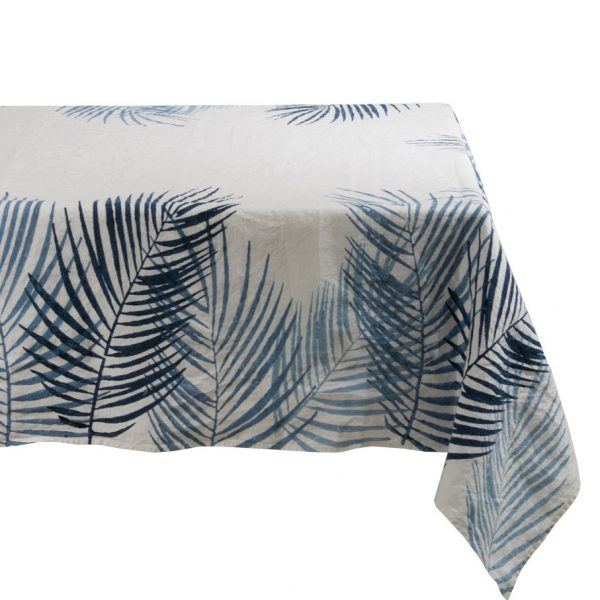 Blue Palm linen tablecloth