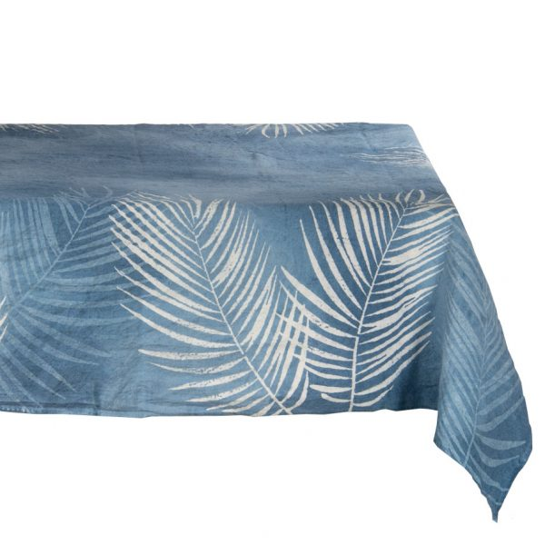 Hand painted blue palm tablecloth