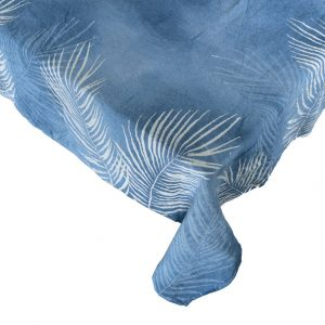 blue tropical hand painted linen tablecloth Bertozzi
