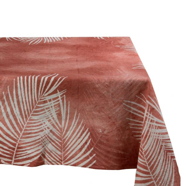 Tropical hand painted linen tablecloth Bertozzi