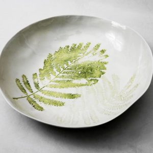Handmade porcelain bowl tropical fern