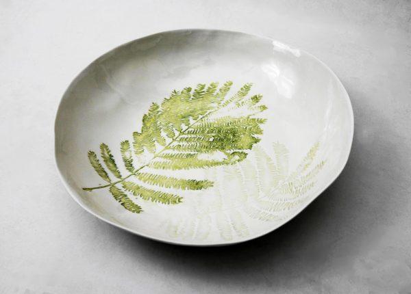 Handmade porcelain bowl tropical fern