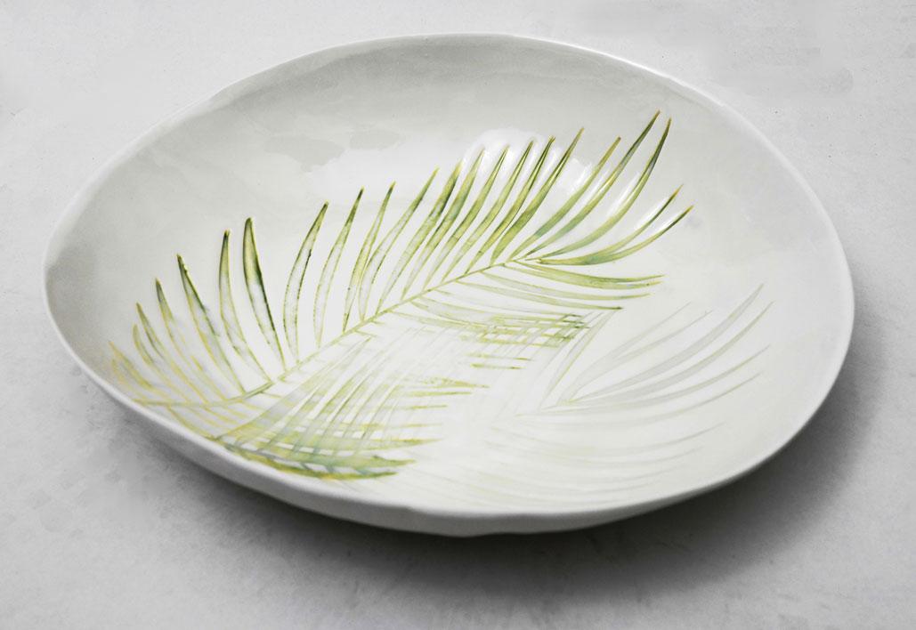 hand printed porcelain bowl Palm design