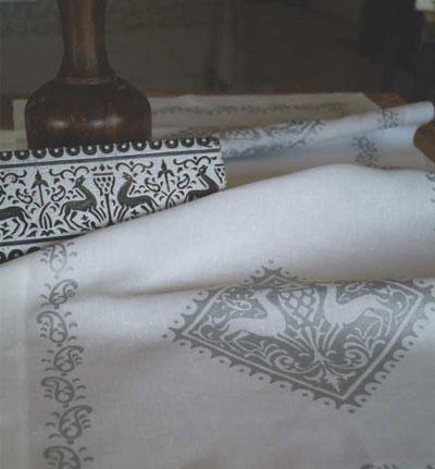 Linen tablecloth Deer Silver Bertozzi