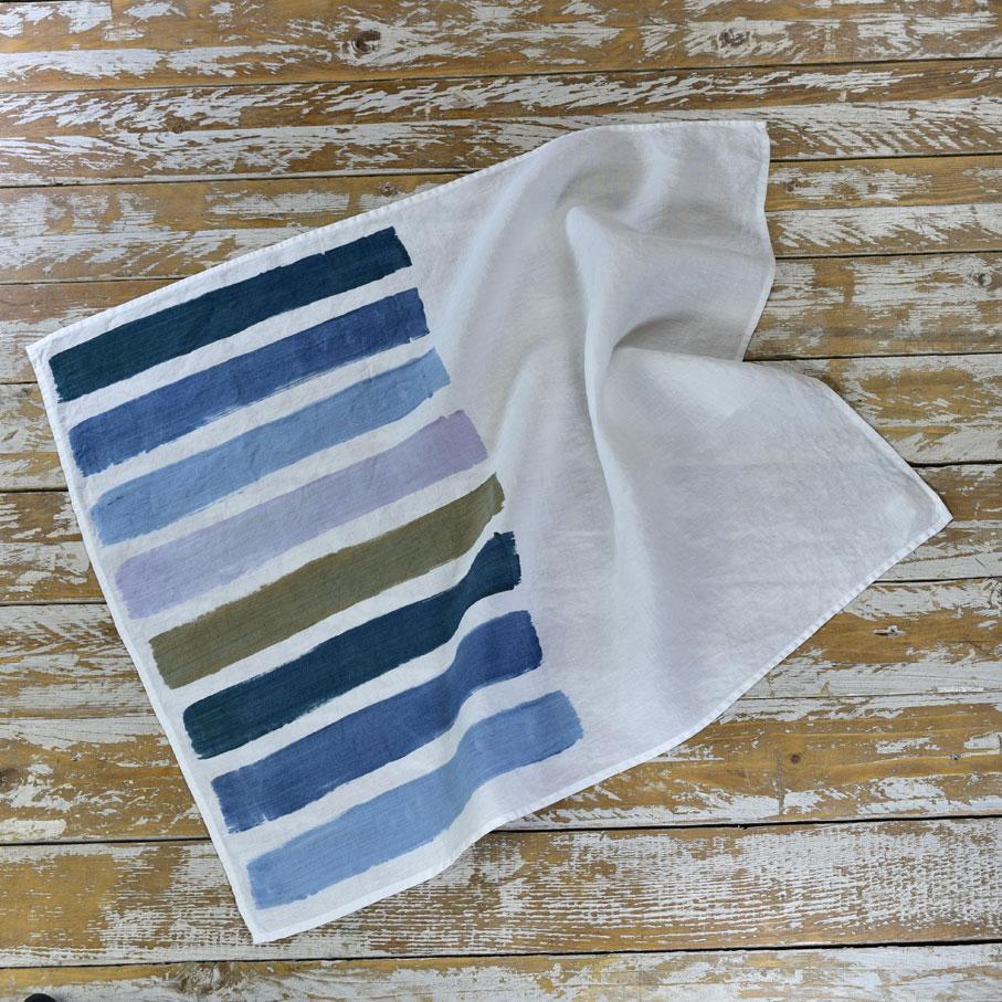 brushstroke linen tea towels blue allora. Black Bedroom Furniture Sets. Home Design Ideas