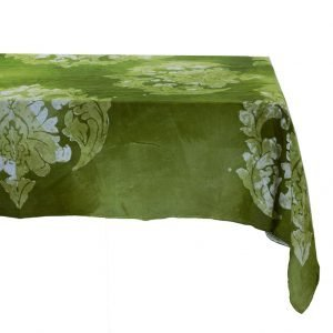 Hand painted green linen tablecloth